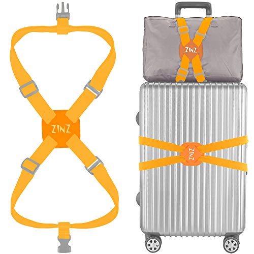Luggage Strap, ZINZ High Elastic Suitcase Adjustable Belt Bag Bungees with Buckles and More Applications - Orange US