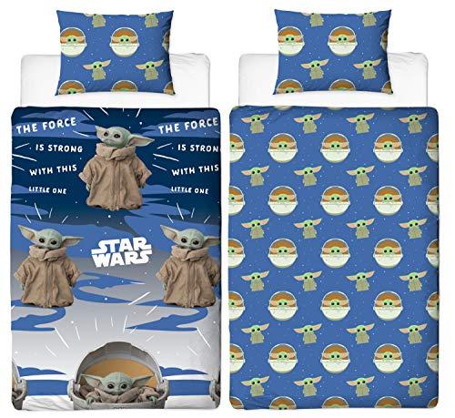 Baby Yoda, collezione ufficiale di biancheria da letto, con copripiumino singolo o matrimoniale, coperte