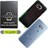 CELL4LESS Replacement Back Glass Cover Back Door w/Installed Camera Lens, Removal Tool & Pre-Installed Adhesive Compatible w/Samsung Galaxy S7 Edge- All Models G935-2 Logo Replacement (Blue)