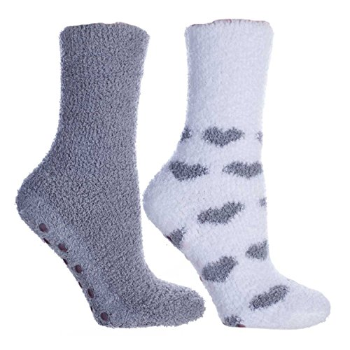 MinxNY Women's Lavender Infused Slipper Socks, 2-Pair Pack with Lavender Sachet,'Hearts', Aromasoles