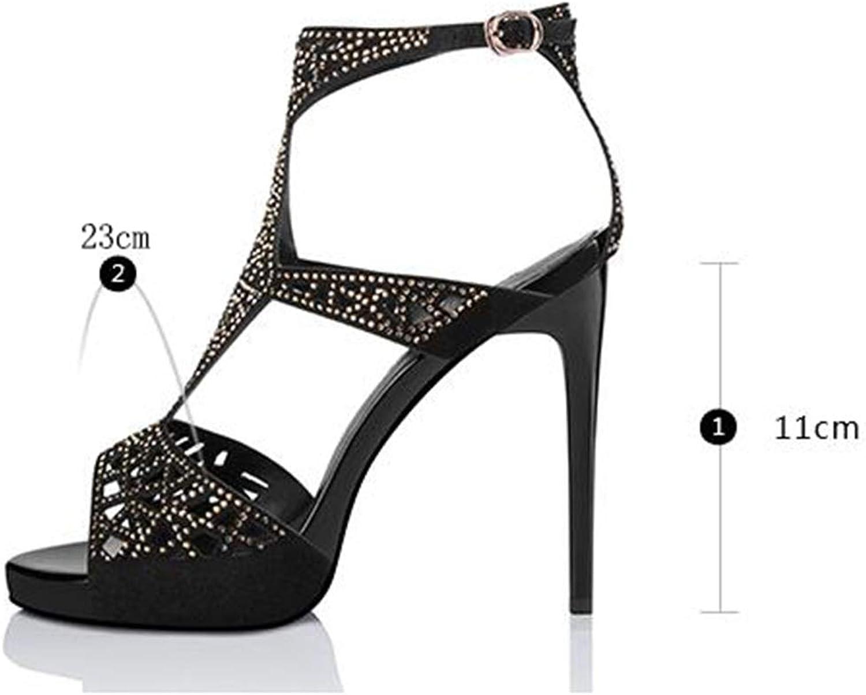 XUERUI Sandalen Damen Stilett-Absatz Fesselriemen Riemchen Bequeme Atmungsaktive Sandalen Pumps (Farbe   schwarz, Größe   EU38 UK5.5 CN38)