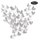 JUN-H 36 Piezas Adhesivos de Decoraciones de Mariposas en 3D Adhesivos de Arte de Pared de Bricolaje Decoración para Calcomanías para el Hogar Murales de Papel Decorativo (Estilo Plateado)