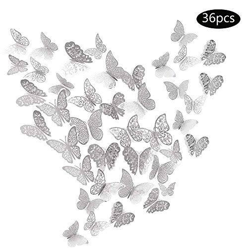 JUN-H 36 Stücke 3D Schmetterling Dekorationen Aufkleber DIY Wandkunst Aufkleber Schlafzimmer Baby Dekor Spiegel Wandtattoo Abziehbilder Abnehmbare Dekorative Papier Wandbilder (Silber Stil)