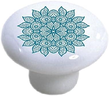 Set of 2 Oriental Blue Mandala Ceramic Cabinet Drawer Knobs