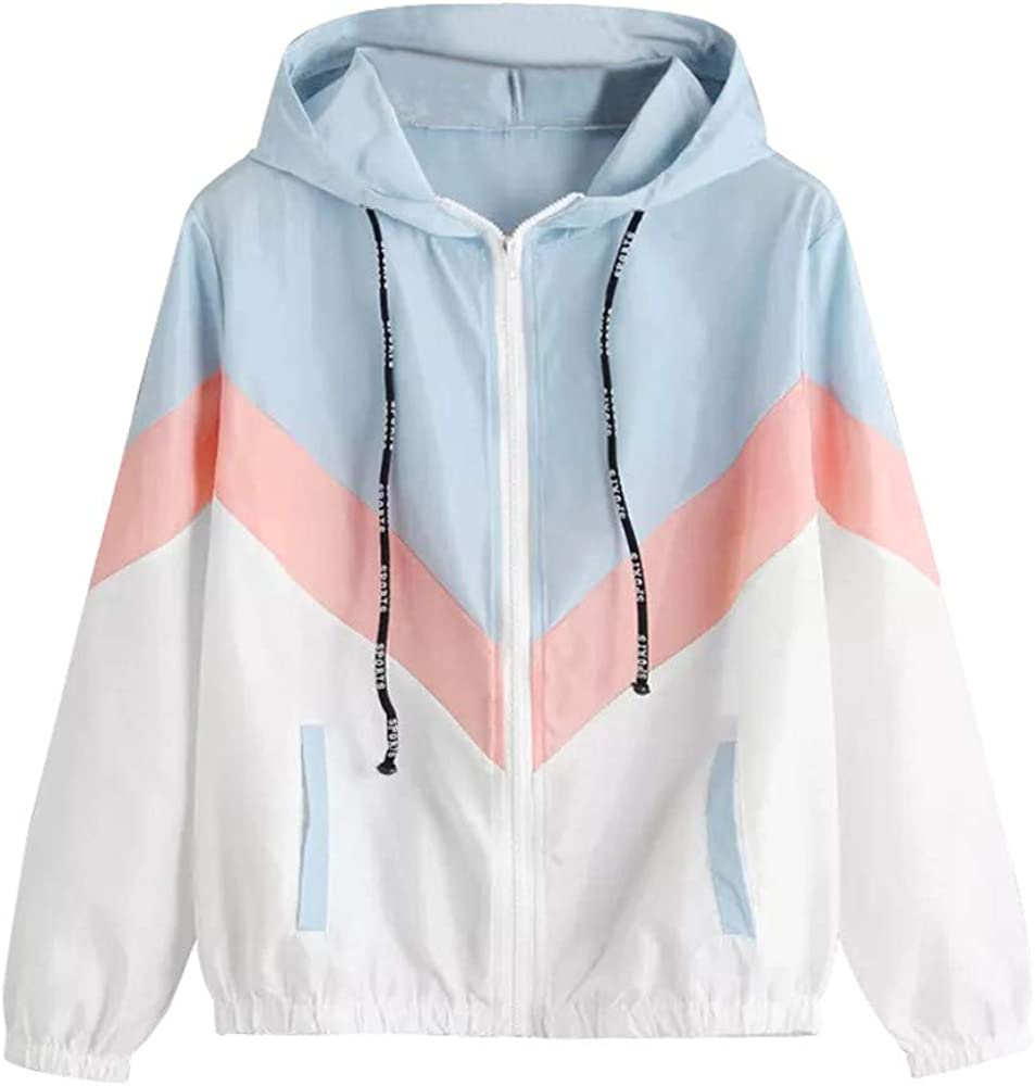 Hoodies for Women Stitching Macaron Color Cute Sweatshirts Full Zip Pockets Drawstring Top Loose Workout Jacket