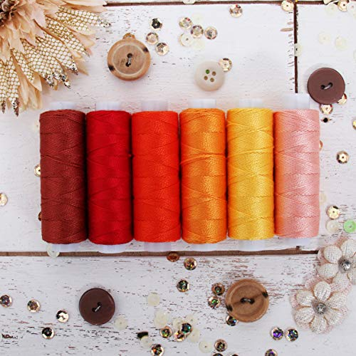 Threadart 6 Color Pearl Cotton Thread Set Sunrise Shades | 75yd Spools Size 8 | Perle Cotton for Friendship Bracelets, Crochet, Cross Stitch, Needlepoint, Hand Embroidery | 6 Sunrise Shades