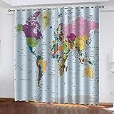 LUOWAN Cortina Patio Exterior Mapa del Mundo Colorido 2 Piezas de Cortinas Opacas Resistente al Calor y La Luz para Salón Dormitorio para Oficina Moderna Decorativa Reducción de Ruido