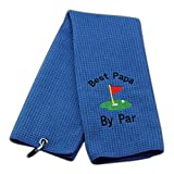 JXGZSO Dad Golf Towel Embroidered Golf Towel Gift Golf Father Gift Embroidered Golf Towel with Clip (Best papa by par)