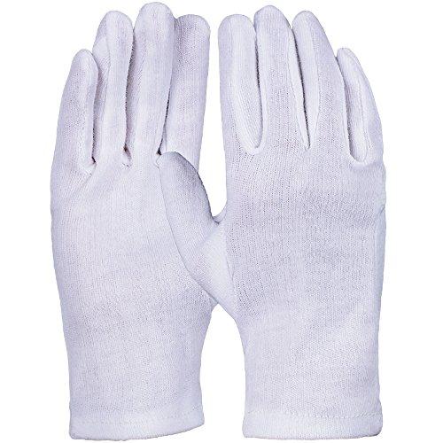 PRO FIT 12 Paar - Baumwoll-Trikot-Handschuh, reinweiß, Schichtel, einfach, gesäumt 10