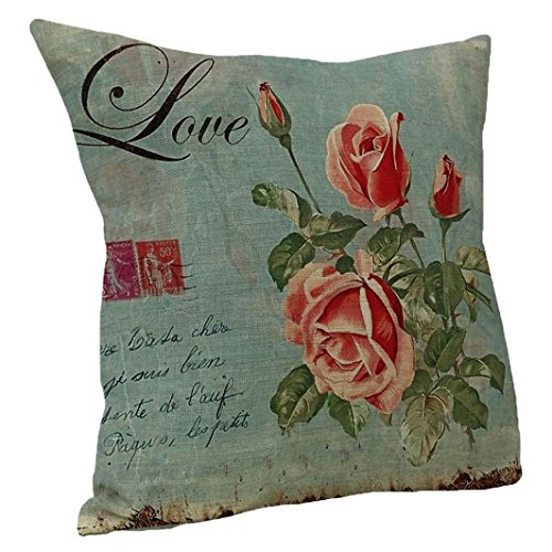 Price comparison product image iLH Big Pillow Cases ZYooh Art Vintage Cotton Linen Printed Throw Pillow Case Cushion Cover Cafe Home Party Hallowmas Christmas Decor (D)