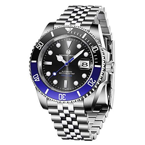 PAGRNE DESIGN Herren Uhren NH35 Automatikuhr Mechanische Divers beobachtet die analoge Armbanduhr mit Edelstahl Armband 1661