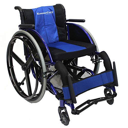 KosmoCare Light weight Folding Active Wheelchair Series I - Blue -Seat width 36 cms