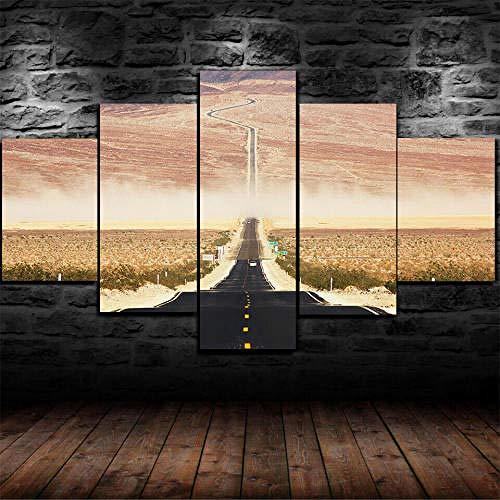 Impresión En Lienzo 5 Piezas Cuadro Sobre Lienzo,5 Piezas Cuadro En Lienzo,5 Piezas Lienzo Decorativo,5 Piezas Lienzo Pintura Mural,Regalo,Decoración Hogareña Prado Carretera Desierto Californiano