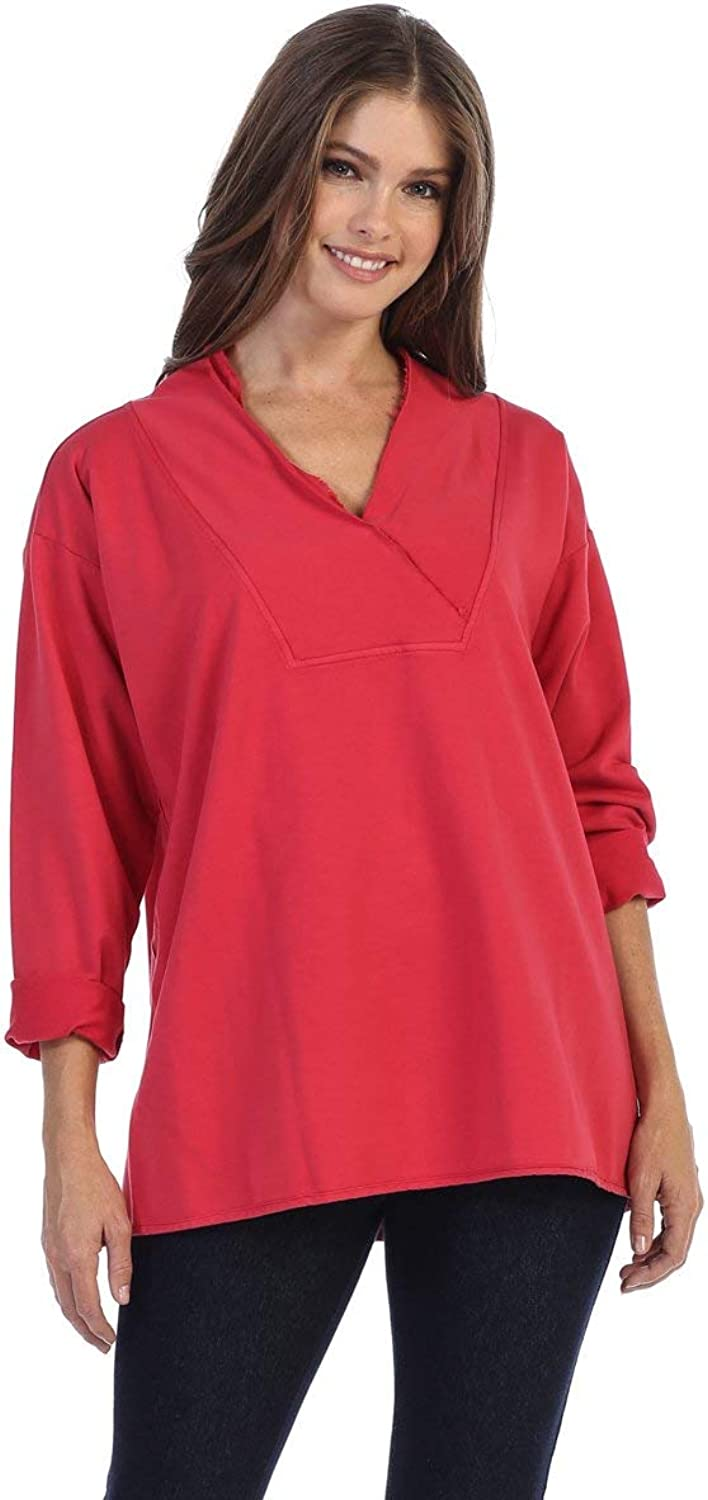 Fashion Focus French Terry VNeck Relaxed Fit Tunic Top