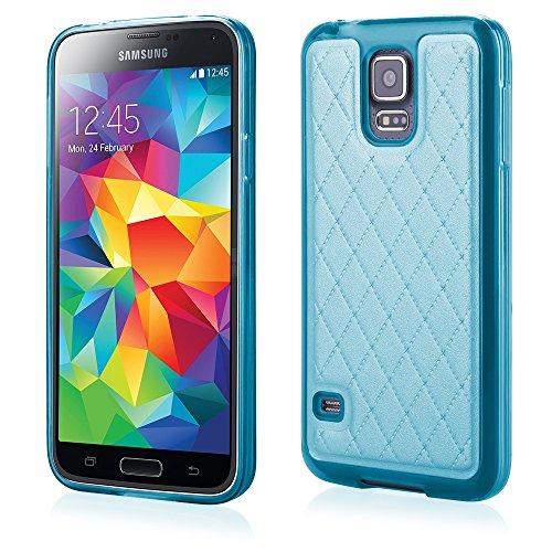 'Elegante TPU Silicona Funda Back Case turquesa con moderno de piel trasera paraSamsung Galaxy S5Cover Carcasa Funda Funda Bumper
