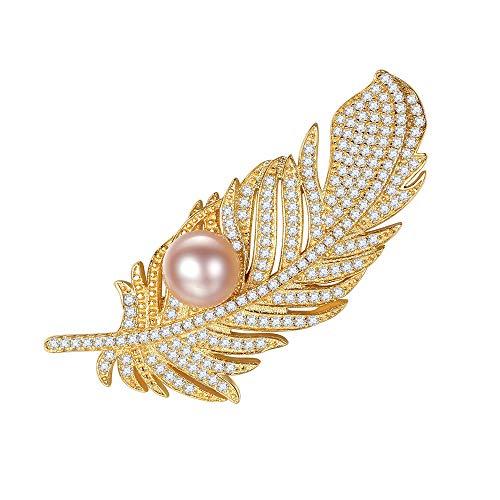Ju-sheng Broche para Mujer Estilo Vintage Forma de Hoja Rhinestone Perla Broche Prendedores Joyería joyería (Color : Rosado)