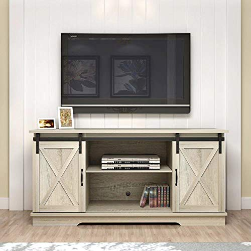 Rainbow Sophia Farmhouse Sliding Barn Door TV Stand for TVs up to 65', Home Living Room Entertainment Center, Wood Storage Cabinet with Doors and Shelve, White Oak