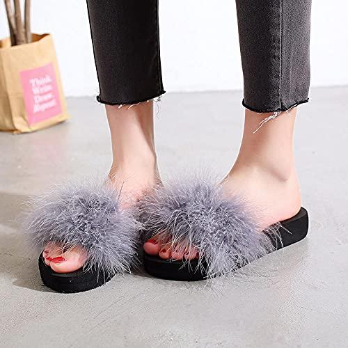 Zapatillas De Casa para Mujer Baratas,Las Nuevas Zapatillas De Piel Gruesa De Peluche De Moda, Pendiente De Fondo Plano De Verano para Mujer con Flip-Flops, Desgaste Zapatillas De Playa De JardíN De