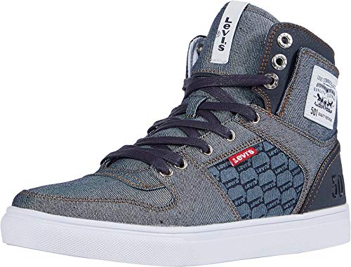 Levi's Mens Mason Hi Denim Fashion Hightop Sneaker Shoe, Navy/Reverse, 9.5 M
