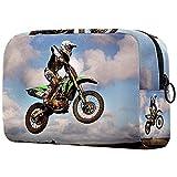 Bolsa de cosméticos para mujeres, adorable bolsa de maquillaje espaciosa bolsa de aseo de viaje accesorios regalos motocicleta motocross moto (52)
