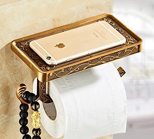 Soporte para teléfono móvil de baño Tallado Vintage con Estante Toallero Soporte para Papel higiénico Rollo Negro Cajas de pañuelos Dispensador de Soporte para Inodoro, Antiguo