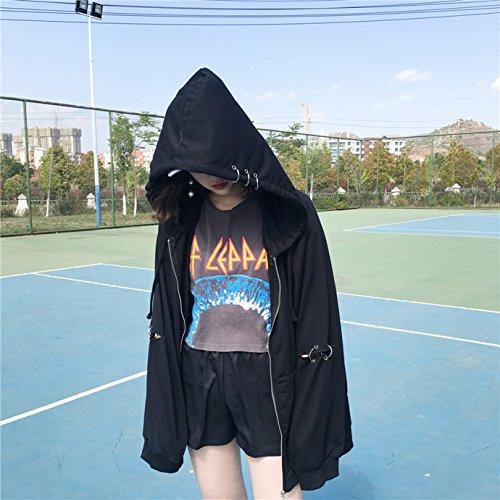 Malilove Suéter De Gran Tamaño Blusa Holgada De Grasa Sólida Capa F Código Negro