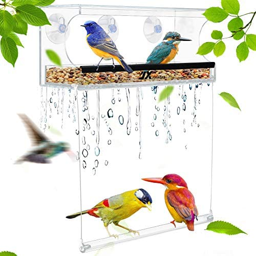 JX FITNESS Acrylic Window Bird Feeder with Strong Suction Cups Clear Birdfeeders with Bird Swing product image