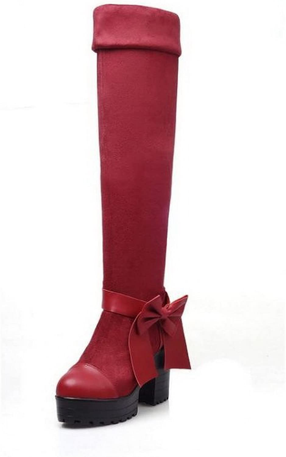 1TO9 Womens Platform High-Heels Solid Knot Round-Toe Urethane Boots