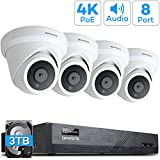【Audio】 ONWOTE 4K 8MP PoE Security Camera System Dome 3TB HDD, 8 Channel 4K H.265 NVR, (4) Outdoor 4K 8.23 Megapixels Ethernet IP Security Camera, Wired Video Surveillance System for 24/7 Recording