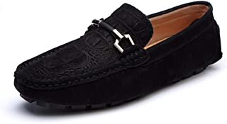 Xujw-shoes, Suede Loafers Men Casual Shoes for Men Driving Loafers Boat Moccasins Slip On Faux Suede Anti Slip Lightweight Wrinkle Upper Metal Ring Decor Comfortable