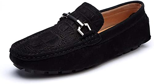 Jujianfu Chaussures de Conduite pour Homme Mocassins Bateau à Enfiler Enfiler Enfiler Imitation Daim Chaussures décontractées antidérapantes légères en Alliage f77