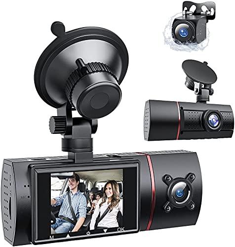 RaMokey DashCam Vorne und Hinten und innen 1080P Autokamera mit IR Nachtsicht, 3 Lens Kanal Dual DashCam für Autoschleifenaufzeichnung und G-Sensor, WDR,Parküberwachung, Bewegungserkennung