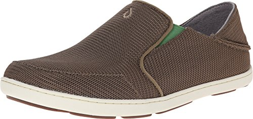 OLUKAI Men's Nohea Mesh Slip-On Shoes, Mustang/Lime Peel, 10.5 M US