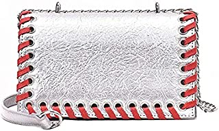 CSG Women's Bags PU(PolyurCSGane) Crossbody Bag Buttons Solid Color Black/Silver/Red durable (Color : Red) waterproof