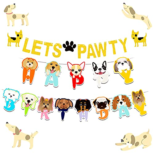 LaVenty Set of 2 Glitter Lets Pawty Banner Dog Birthday Banner Dog Pawty Banner Dog Party Banner Pet Birthday Banner Pet Party Banner
