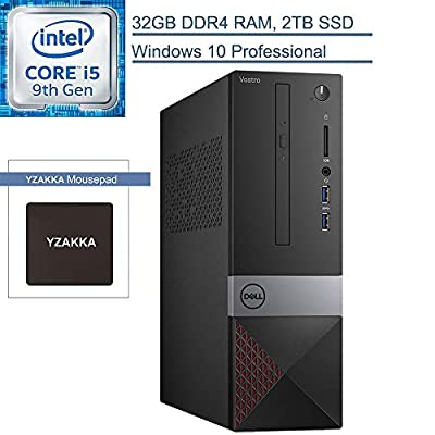 2020 Dell Vostro 3000 Business Small Desktop Computer, 9th Gen Intel Hexa-Core i5-9400 up to 4.1GHz, 32GB DDR4 RAM, 2TB SSD, DVDRW, WiFi, Bluetooth, HDMI, Windows 10 Professional, YZAKKA Mouse Pad