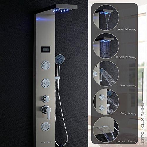 Auralum Columna de Ducha LED de Acero Inoxidable 304 Panel de Ducha con Ducha de Mano Salida de...