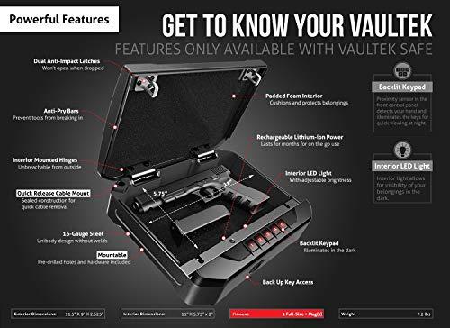 Vaultek VT20 Handgun Safe Bluetooth Smart Pistol Safe with Auto-Open Lid and Rechargeable Battery (Black)