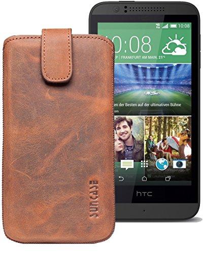 Original Suncase® Etui Tasche für HTC Desire 510 | HTC Desire 526G Dual SIM | ZTE Blade V6 Leder Etui Handytasche Ledertasche Schutzhülle Hülle Hülle *Lasche mit Rückzugfunktion* antik-coffee