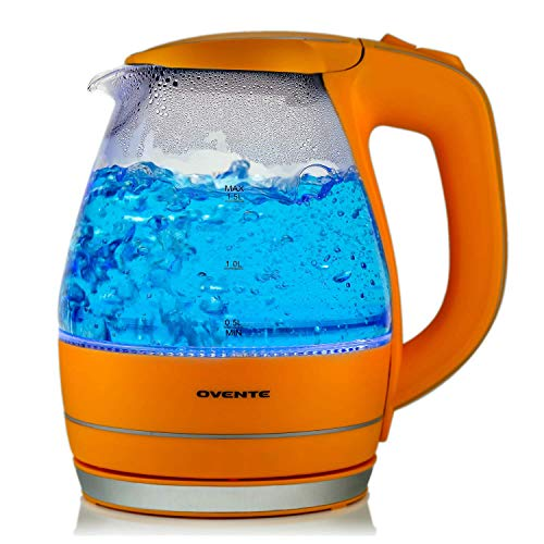 Ovente 1.5L BPA-Free Glass Electric Kettle, Fast Heating with Auto Shut-Off and Boil-Dry Protection, Cordless, LED Light Indicator, Orange (KG83O) (Renewed)