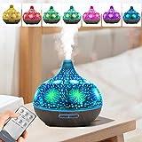 Kacsoo Diffusore di oli essenziali Ultrasuoni in vetro fuochi d'artificio 3D Umidificatore per aromaterapia Purificatori d'aria con 7 luci a led che cambiano colore per Spa Baby Romantic Gift