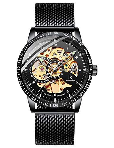 IK Men Watches, Luxury Skeleton Watches for Men, Automatic Mechanical Wristwatch Black Mesh Band - Gold