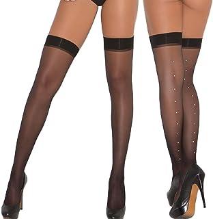 Elegant Moments Women's Sheer Thigh Hi with Rhinestone Back Seam