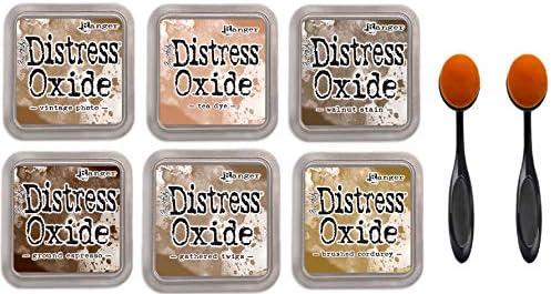 Tim Holtz Ranger Distress Oxide Ink 6 Light and Dark Browns Vintage Photo Tea Dye Walnut Stain product image