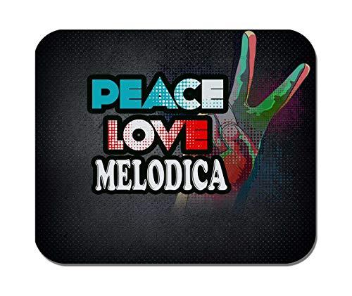 Makoroni - Peace Love Melodica Music- Non-Slip Rubber - Computer, Gaming, Office Mousepad