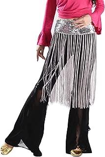 BMEIG Belly Dance Hip Scarf Tassel Women's Belly Dance Flashy Tassel Hip Scarf Sequined Fringe Skirt Wrap