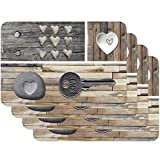 Venilia Tischset Platzset für Esszimmer, 4er Set abwischbar Polypropylen, lebensmittelecht 45 x 30 cm, 4 Stück, 59081, Kunststoff, Country Key of Love Braun, Muster