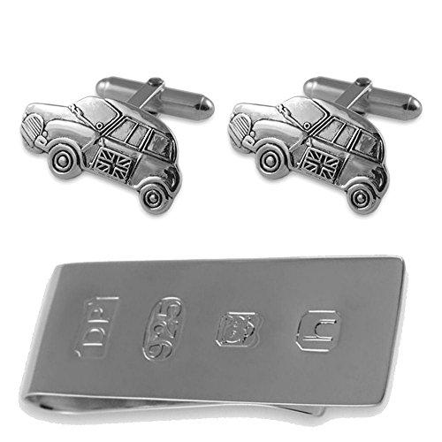 Sterling Silber Mini Auto Manschettenknöpfe James Bond Geld Clip Box Set