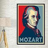 ysldtty Pintura De La Lona Wolfgang Amadeus Mozart Músico Famoso Artista Retro Art Seda Poster Wall Home Decor LF725G Sin Marco 40cmx60cm