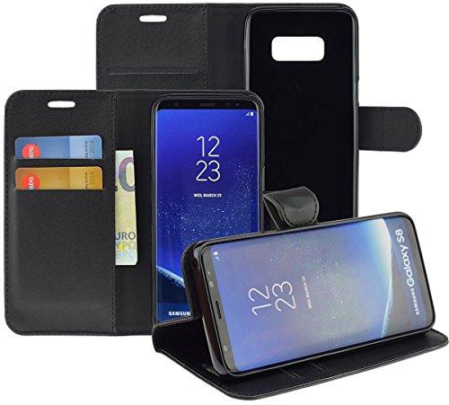 Samsung Galaxy S8 Hülle Book Style Premium Tasche Cover Hülle in schwarz